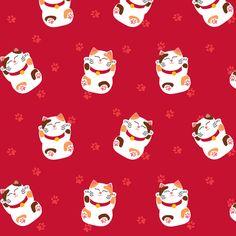 Japanese Fabric – Lazy Maneki Neko By Mariao – Japanese Good Luck Cat Fortune Red Kawaii Cotton Fabr Japanischer Stoff – Lazy Maneki Neko von [. Maneki Neko, Fabric Patterns, Print Patterns, Websites Like Etsy, Spoonflower Fabric, Japanese Fabric, Pattern Wallpaper, Cat Art, Custom Fabric