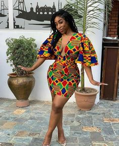 ankara stil The dress is made from Kente print fabric It fastens at the back with a zipper. Fully lined and made from African print cotton. Fabric model has on may not be available. African Party Dresses, Short African Dresses, Ankara Short Gown Styles, Kente Styles, Latest African Fashion Dresses, African Print Dresses, African Print Fashion, Africa Fashion, Fashion Prints