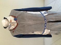 Thrift shop gray suede shirt and denim shirt. Diane Ericsons bird fabric panel. Hanging pockets. Snap tape. Zipper. Diane Ericsons stencils.