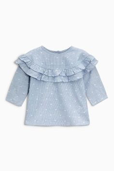 Buy Blue Ruffle Blouse (3mths-6yrs) from Next Australia