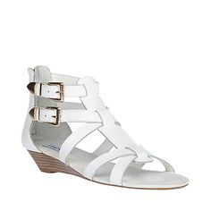 OBJECT White LEATHER women s sandal mid wedge - Steve Madden Steve Madden  Boots 984282b1c116