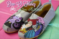 Disney Villains Inspired custom painted shoes #disney #villains #captainhook #ursula #maleficent #toms #disneyland #villains www.danoflorez.storenvy.com