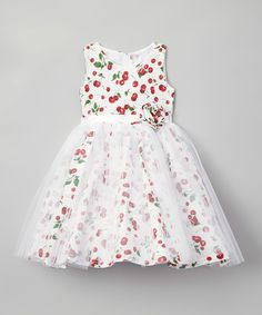 Look at this White Cherry A-Line Dress - Infant, Toddler & Girls on #zulily today!