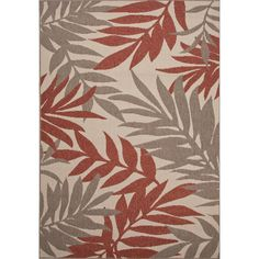 Charlie Hand-Hooked Ivory & Red Indoor/Outdoor Rug