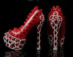Luxury Heel Red Diamond Lace Shoes with Crystal by AppleCellphone, $239.00