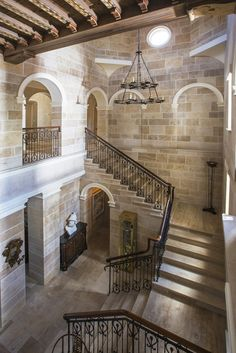 The main staircase in a mansion in the Rio Vista Isles section of Fort Lauderdale.