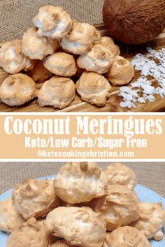 Coconut Meringue Cookies – Keto, Low Carb & Sugar Free A sweet treat that you can make any time and they are guilt-free! Finely shredded coconut flavors these meringue cookies. They are so light and airy, and taste like little coconut clouds! Meringue Cookies, Keto Cookies, Almond Cookies, Pumpkin Cookies, Shortbread Cookies, Chocolate Cookies, Low Carb Desserts, Low Carb Recipes, Egg White Recipes