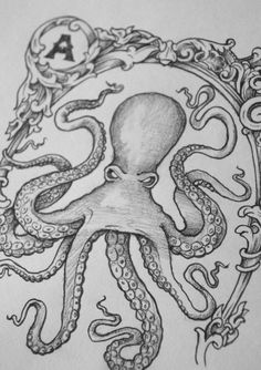 Picture Octopus Tattoo Design, Octopus Tattoos, Octopus Art, Tattoo Designs, Squid Tattoo, Tattoo Time, Kraken, Banjo, Sketching