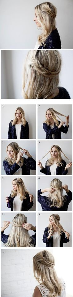 Fishtail Braid Headband Tutorial 1.Divide your hair from the middle. 2.Collect a large section of hair from one side. 3.Create each section into a regular fishtail braid. 4.Cross the finished fishtail braid behind your head. 5.Pin in place with a bobby pin. 6.Apply some hairspray to keep it secured.