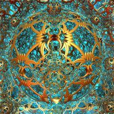Znalezione obrazy dla zapytania fractal brown blue gold