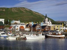 The north coast port town of Húsavík, reputedly Europe's whale-watching capital, attracts visitors interested in whale-watching, birding, and sailing adventures in Skjálfandi Bay.