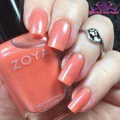 Zahara by @zoyanailpolish is described as a brilliant shimmering coral made modern with an opalescent effect. Seen here is 3 coats you could get away with 2 if you use slightly thicker coats.  This is MY color!  #nailpolish #nailblogger #nailswatches #polishaddict #nailsofinstagram #nailgirl #nailfeature #prettynails #ignails #allnails #ignailcommunity #nailsoftheday #nailart #nailpromote #notd #featuremynails #naillacquer #nails2inspire #nailswag #manicures #polishandpaws #nailswag…