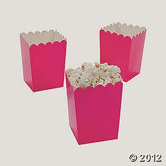 Hot pink popcorn boxes for the cotton candy! It can be personalized with art or a label on the side.
