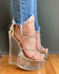 Cute Wedges, High Wedges, Transparent Heels, Shoe Boots, Shoes Heels, Foot Toe, Sexy High Heels, Wedge Heels, Footwear