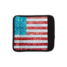 Kess InHouse Beth Engel 'Red White and Glitter' Flag Luggage Handle Wrap