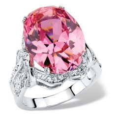 PalmBeach Jewelry 13.24 TCW Simulated Pink Tourmaline CZ Ring ($40) ❤ liked on Polyvore featuring jewelry, rings, jewelry & watches, oval cubic zirconia ring, cz rings, cubic zirconia band rings, statement rings and pink tourmaline ring