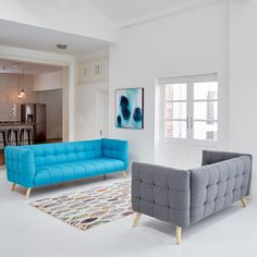 If you are looking for a bold contemporary statement, Hypercube is perfect. Beautifully upholstered with a striking stitching detail, it sites elegantly on solid Ash wood legs. Super comfortable, it's designed without the need for plumping cushions, to Furniture, Teal Living Room Color Scheme, Wood Legs, Contemporary Living, Contemporary Sofa, Retro Sofa, Teal Sofa, Lounge Furniture, Retro Furniture