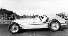International Eifel race on the Nürburgring on June 16, 1935. The winner Rudolf Caracciola at the wheel of a Mercedes-Benz racing car W 25.