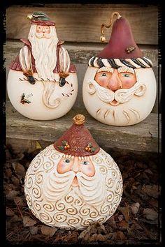 VanessaK: Hand painted santa gourd trio. I love how creative people are. Amazing work!