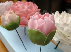 Full peony flower and closed peony with a bud...Stunning how-to thanks to Tortentante!