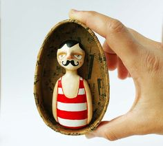 Moustache man art wall sculpture  Paper clay by sweetbestiary, £70.00