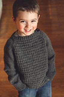 Limepop Sweater (worsted weight). Awww. For my blue eyed boy
