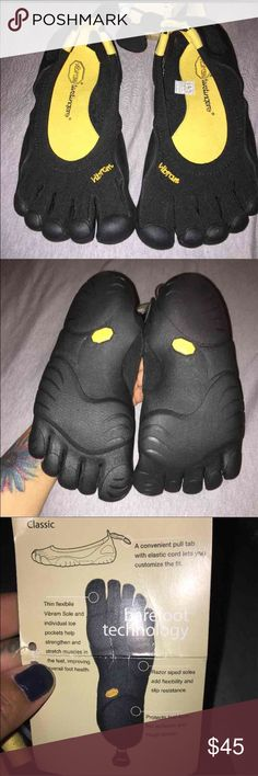 Vibram-five finger shoes Brand new, super comfy and cool shoes, super light about 6oz, retail for $95, purchased at Sports chalet but never wore them :-/.Size 37, but I am a size 6 and the fit perfect so they run small Vibram Shoes Athletic Shoes