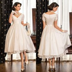 2015 Garden Hall V Neck A Line Plus Size Wedding Dresses Short Sleeves Tea Length Taffeta Little White Dress With Criss Cross Bodice Online with $85.75/Piece on Cinderelladress's Store | DHgate.com