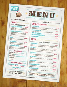 Me Llamo Taco | Daniel Moore | Graphic Design Portfolio.  We don't make menus, but this layout might resurface...