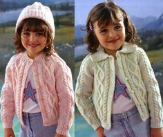 Vintage Knitting Pattern Childrens Jacket and Hat Cabled Cardigan sweater aran Knit retro clothes girl boy jumper pdf instant download easy