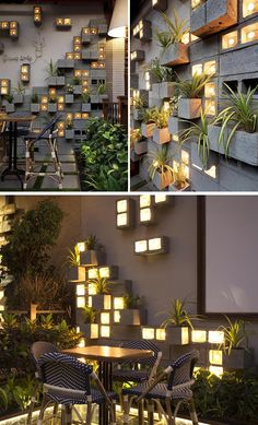 A Concrete Block Planter Wall Was Used To Add Greenery To This Restaurant Concrete Block Walls, Cinder Block Walls, Cinder Block Garden, Concrete Wall, Terrace Garden Design, Balcony Design, Fence Design, Balcony Garden, Garden Wall Designs