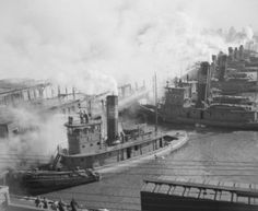 USA New York State New York City Steam boats in the port high angle view Canvas Art - x Great Lakes Ships, Steam Boats, New York Harbor, Ferry Boat, Old Boats, Usa News, Boat Plans, Tugboats, High Angle