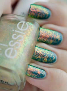 Essie Shine of the Times over OPI Cuckoo for this Color. i need to find this essie nail polish! Get Nails, Love Nails, How To Do Nails, Pretty Nails, Glitter Nail Polish, Nail Polish Colors, Color Nails, Top Coat Nail Polish, Best Nail Polish