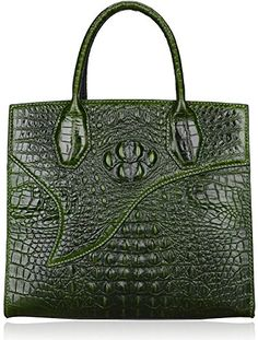 Pijushi Designer Classic Embossed Crocodile Leather Ladies Satchel Handbags 6063 (One Size, Green) Was: $485.74 Now: $218.58