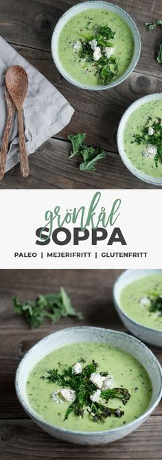 Recept: Grönkålssoppa på kokosgrädde – Mjölkfritt, vegetariskt, vegan, mejerifritt, nyttig lunch Vegetarian Recepies, Veggie Recipes, Soup Recipes, Cooking Recipes, Healthy Recipes, Recipies, Enjoy Your Meal, Veg Soup, Food Porn