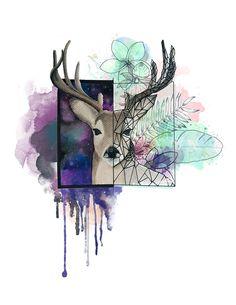 Deer Digital & Traditional Art: Graphite > Watercolor > Adobe Photoshop CS6 Traditional Art, Adobe Photoshop, Graphite, Artsy Fartsy, Deer, Moose Art, Watercolor, Digital, Artwork