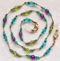 Purple Crackle/Olive Cord Eyeglass Chain