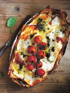 Roast tomato, basil and haloumi lasagna