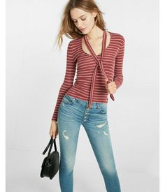 Simple Stripe Ribbed Tie Neck Tee Red Women's X Small