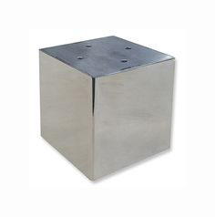 """4"""" x 4"""" x 4""""H  Dylan is a box style metal leg, made in a brushed or polished stainless steel.  It is open inside, fastens from the bottom and comes with clear plastic floor glides."""