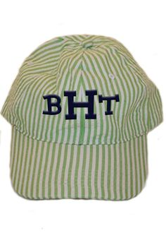 This personalized green seersucker baseball hat is a 6 panel, unstructured, low profile hat made of cotton twill with an adjustable strap to fit most adults. It makes for a wonderful birthday gift or graduation gift! Turnaround time is 5-7 business days. For customization, please email Stylist@shoptiques.com with your choice of thread color, monogram style and monogram initials. All custom items are final sale.   Personalized Green Seersucker Hat by Party Cat. Accessories - Hats Austin…