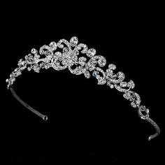 Antique Silver Clear Swarovski Crystal Tiara HP 7088 S