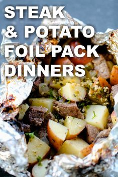 Steak and Potato Foil Pack Dinners | Six Sisters' Stuff These Steak and Potato Foil Pack Dinners are filled with juicy sirloin steak, roasted red potatoes, onion and a flavorful homemade garlic butter. This easy foil dinner recipe is one you will want to make all summer long and is a great recipe to take with you on your next camping trip! #foilpack #camping