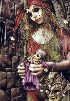 Harley Quinn fantasy art by Victoria Frances Fantasy Anime, Dark Fantasy Art, Dark Art, Fantasy Artwork, Joker Clown, Creepy Clown, Zombie Disney, Vampires, Harley Quinn Et Le Joker