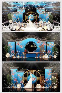 Fashion atmosphere lake blue new Chinese wedding effect picture Wedding Backdrop Design, Wedding Stage Design, Wedding Stage Decorations, Wedding Designs, Pink Blue Weddings, Chinese Wedding Decor, Starry Wedding, Japanese Party, Modern Minimalist Wedding