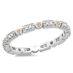 0.25 Carat (ctw) 14K Gold Round Champagne & White Diamond Ladies Wedding Eternity Stackable Band 1/4 CT