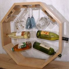 Octorack - A Wine Bottle & Glass Holder Wine Bottle Glass Holder, Wine Bottle Storage, Wine Bottle Glasses, Glass Holders, Wine Craft, Wine Bottle Crafts, Alcohol Dispenser, Wood Wine Racks, Wine And Liquor