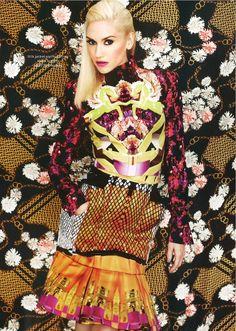 Gwen Stefani in Mary Katrantzou - Elle Magazine
