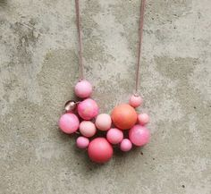 Pink bib necklace, bubble, bead necklace, statement, contemporary, pale pink, hot pink, coral, funky, woven bead necklace, fashion.