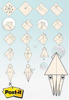 Origami con Notas Post-it®: Calamar Click a la imagen para descargar las instrucciones